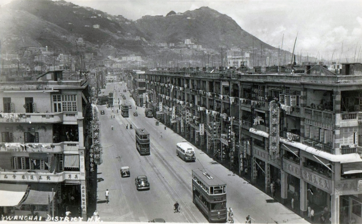 Trams on Hong Kong's Johnston Road, late 1940s.